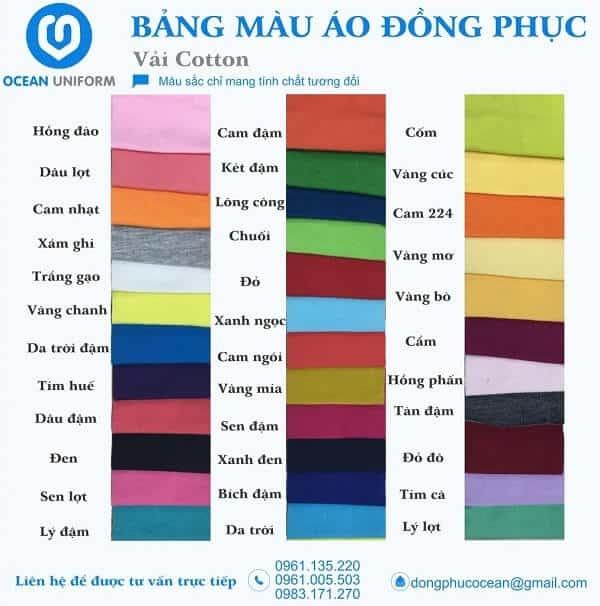 Bảng màu áo thun đồng phục công ty tha hồ cho bạn lựa chọn