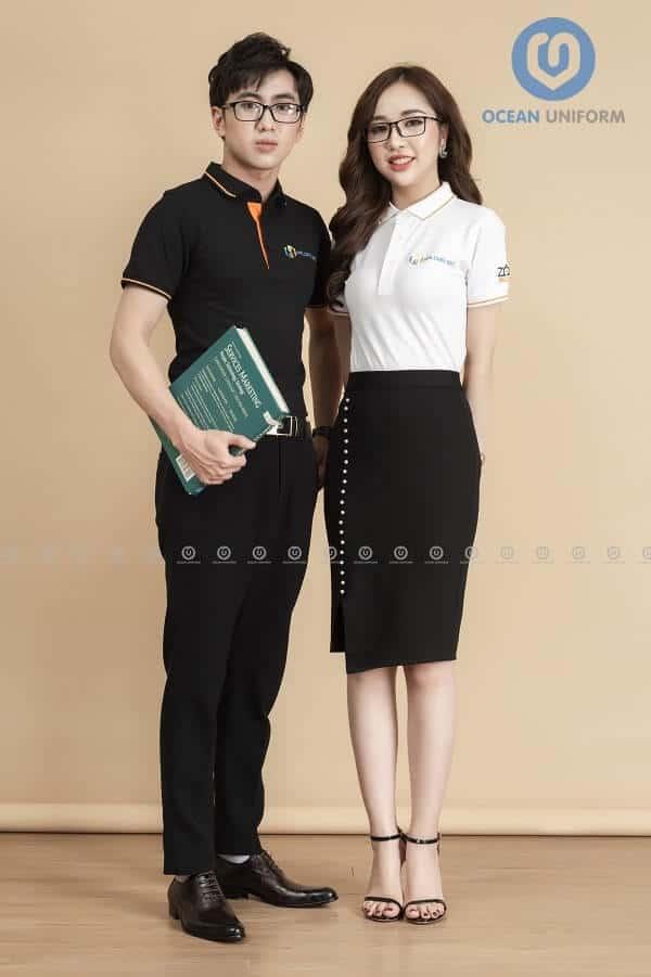 Áo phông đồng phục công ty Hạ Long JSC kết hợp trắng đen độc đáo