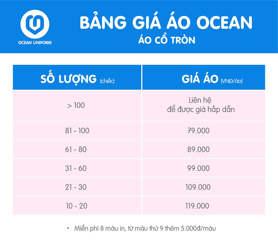 Bảng giá in áo đồng phục công ty Ocean