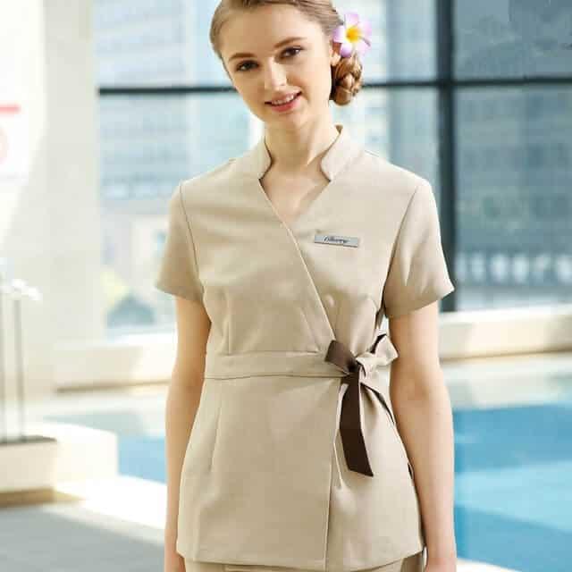 Chất vải KaKi chun rất phù hợp với những thiết kế đồng phục Spa đơn giản hiện đại