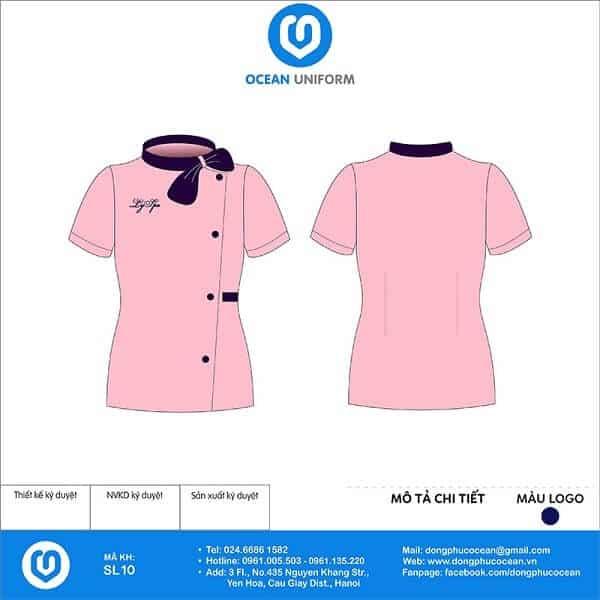 Đồng phục Spa Ly với gam màu hồng kết hợp có nơ nhẹ nhàng thanh lịch