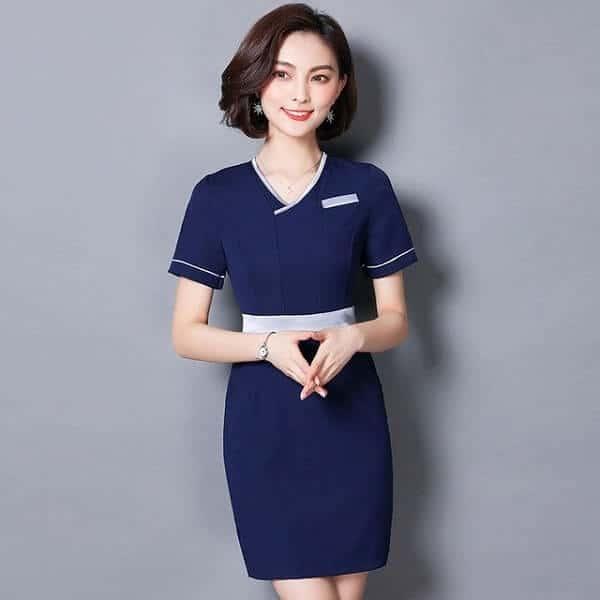 Đồng phục Spa may bằng chất liệu vải Tuysti chun được thiết kế theo phong cách thanh lịch
