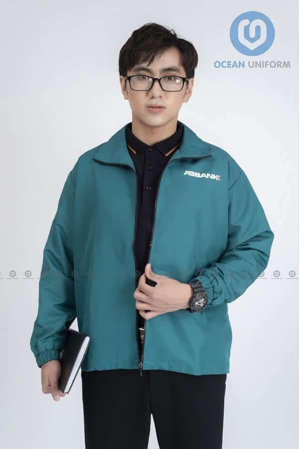 May áo khoác đồng phục công ty An Bình bank màu xanh trang nhã