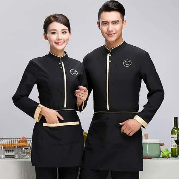 Đồng phục cho lễ tân quán bar màu đen với phong cách chuyên nghiệp