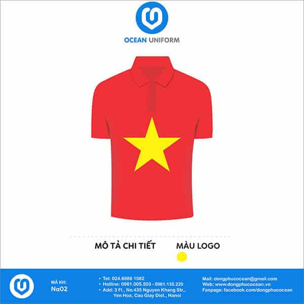 Mẫu áo cờ đỏ sao vàng có cổ được 1 câu lạc bộ đặt mua tại Ocean