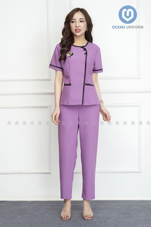 Mẫu đồng phục màu tím dịu dàng