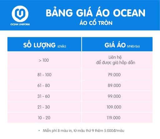 Bảng giá áo phông của Ocean