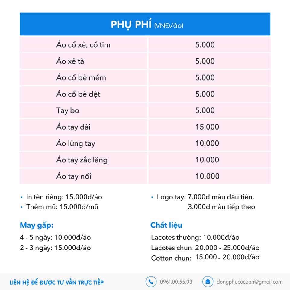 Bảng phụ phí dịch vụ