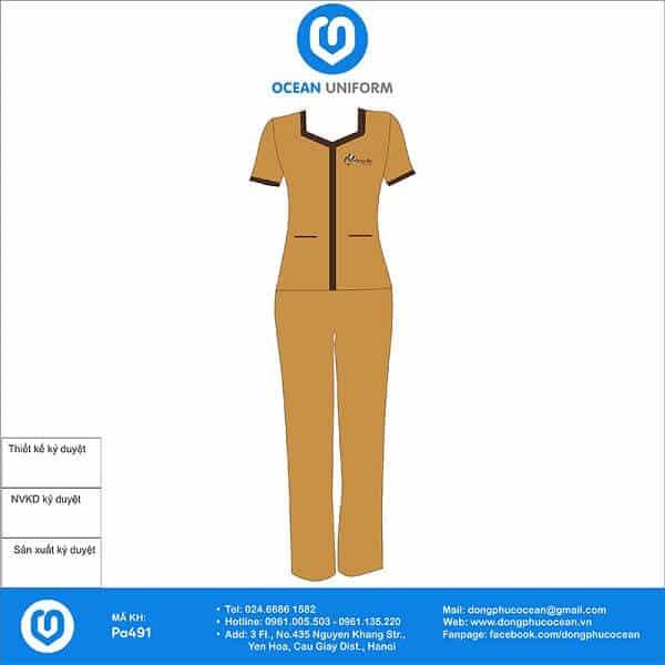 Đồng phục spa tối giản với phần tay ngắn giúp người mặc dễ dàng hoạt động làm việc