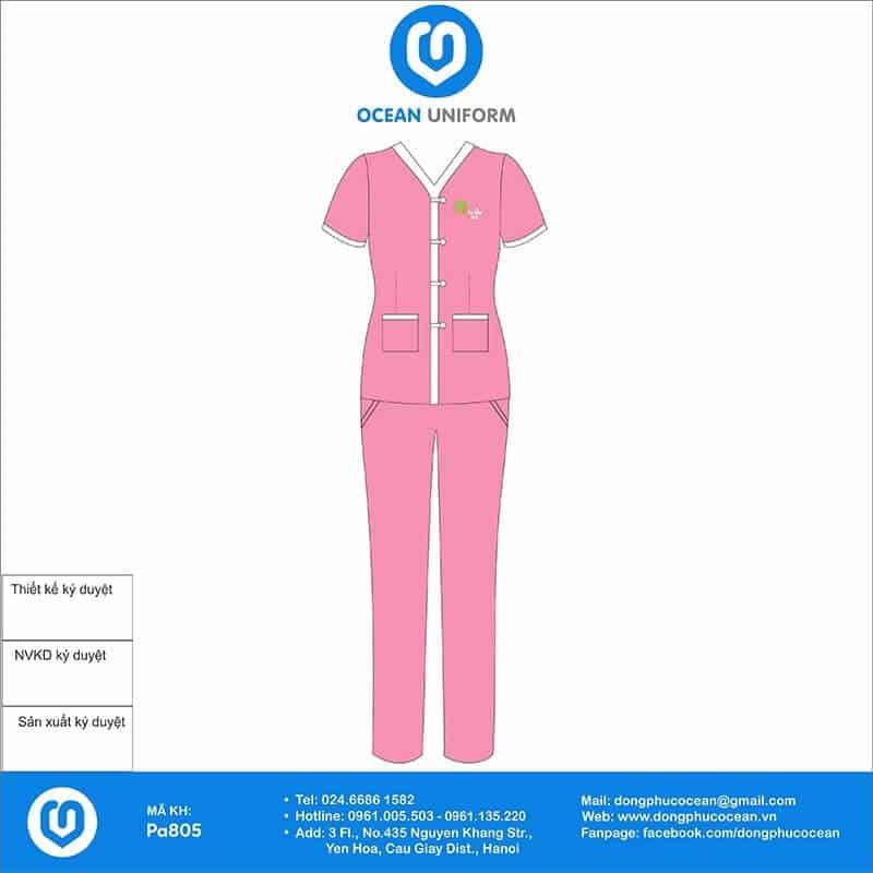 Màu hồng nhẹ nhàng nữ tính cùng phần túi được may ở phía trước rất tiện lợi