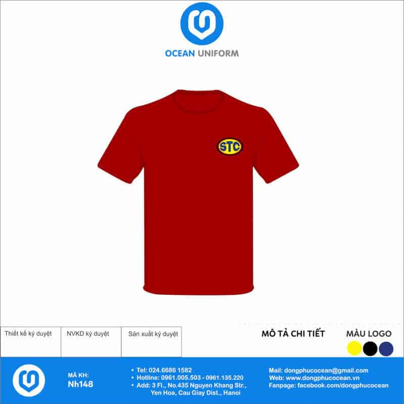 Áo đồng phục đỏ quảng cáo