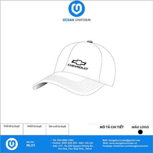 Mũ đồng phục Chevrolet với màu sắc trắng chủ đạo, được thiết kế ấn tượng với logo in đen sắc nét.