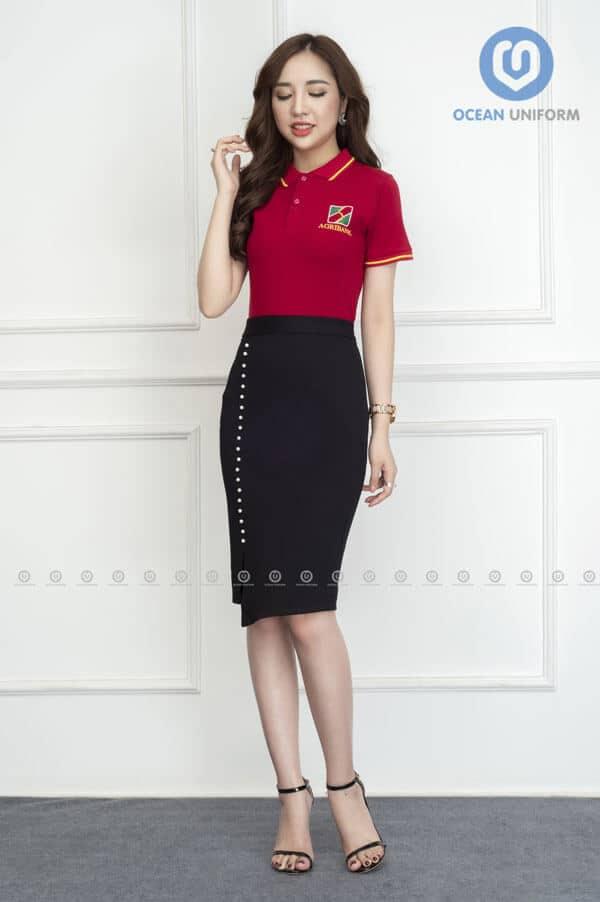 Áo thun đồng phục nữ ngân hàng Agribank