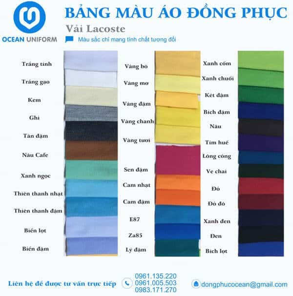Bên cạnh chất lượng, vải tại Ocean có bảng màu đa dạng, đem đến nhiều màu sắc để các doanh nghiệp lựa chọn.