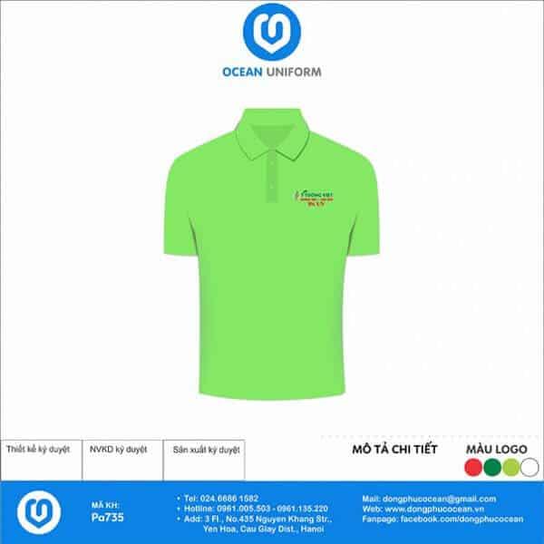Chất vải lacoste thoáng mát kết hợp cùng sắc xanh tươi mới, giúp khơi gợi cảm hứng cho nhân viên Công ty Ý Tưởng Việt.