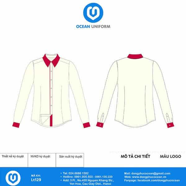Áo sơ mi phối vải hồng ở cổ tay, cổ áo và phần nẹp tạo điểm nhấn nổi bật cho người sử dụng.