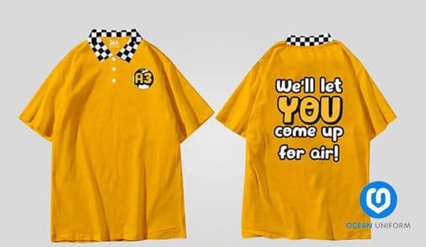 Áo đồng phục màu vàng kẻ caro